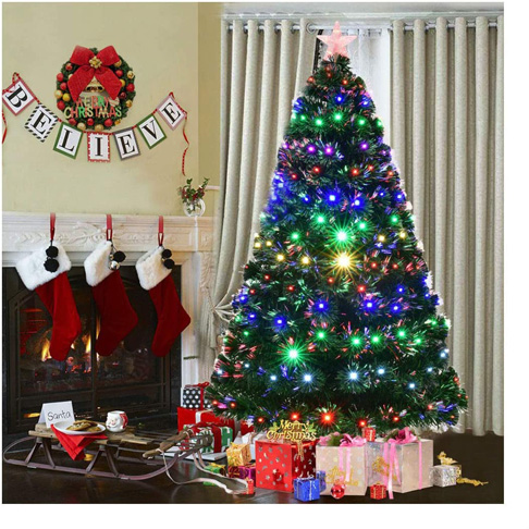 9. 7' Pre-Lit Fiber Optic Artificial Christmas Tree