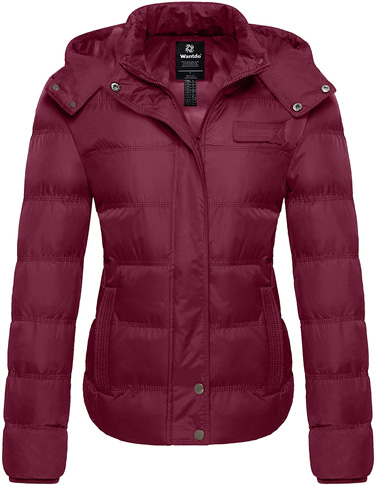 7. Wantdo Women's Quilted Warm Winter Coat with Removable Hood