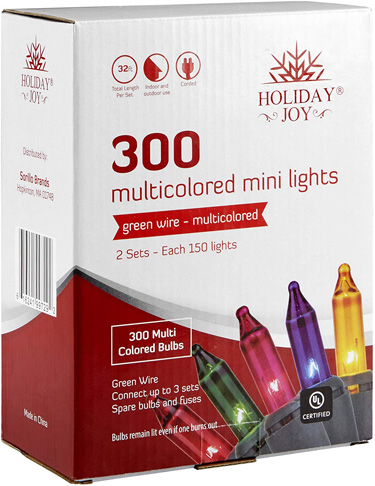 7. Holiday Joy 300 Count Multi-Color Christmas Tree Lights