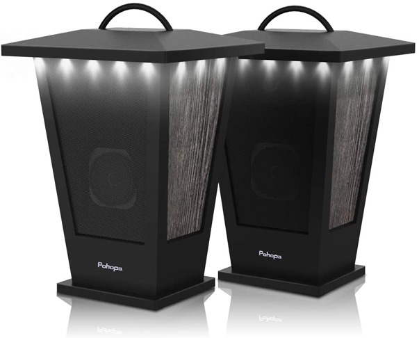 7. Pohopa Dual Pairing Lantern Bluetooth Speakers with Bass