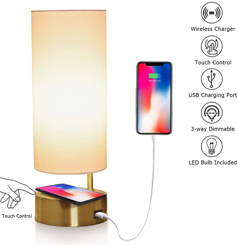 10. LEGELITE Touch Table Lamp with Wireless Charger