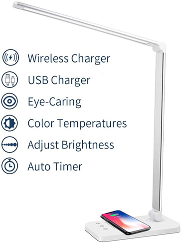 4. Mchatte LED Desk Lamp with Wireless Charger