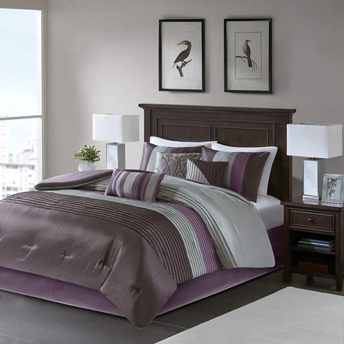 4. Madison Park Amherst Faux Silk Comforter Set- 7 Piece