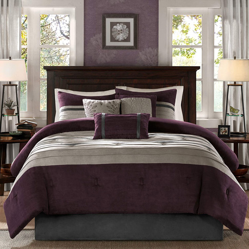 2. Madison Park - Palmer 7 Piece Comforter Set – Plum