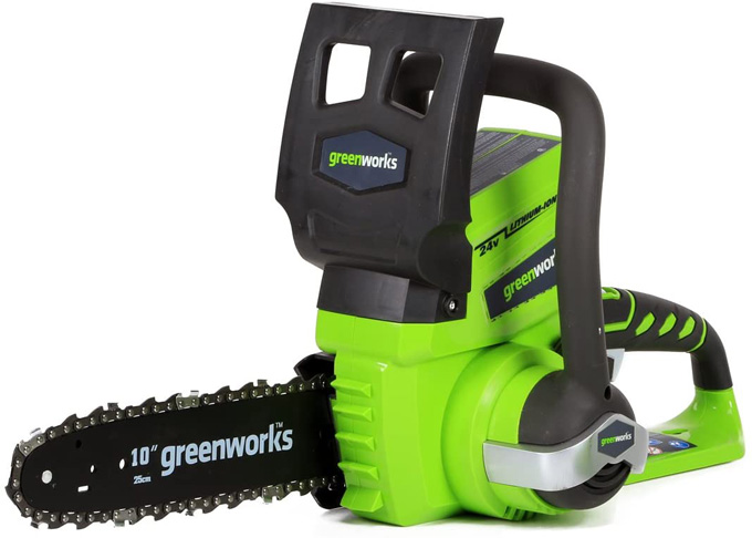 6. Greenworks 10-Inch 24V Cordless Chainsaw, 2000102 -Preferred