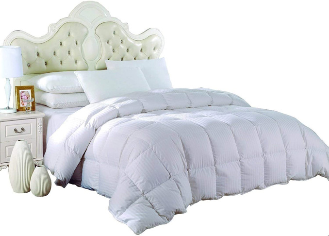 6. Royal Hotel Light Down Comforter- Stripe White