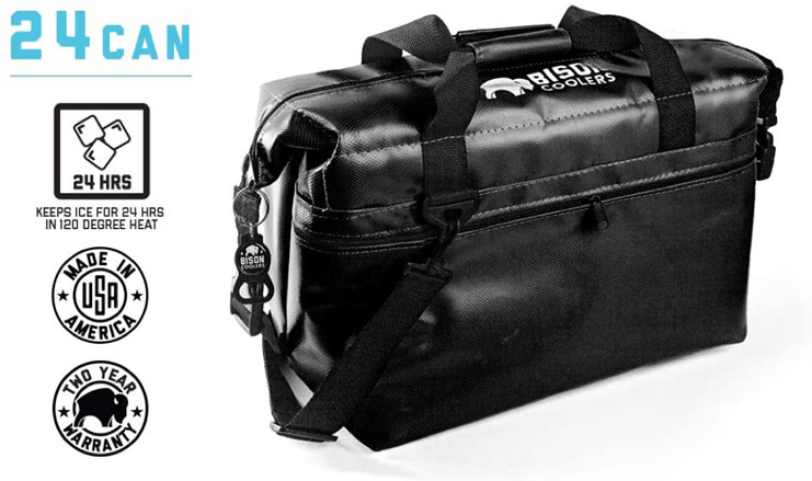 7. BISON COOLERS Insulated Ice Chest Bag, 24 Can -Preferred
