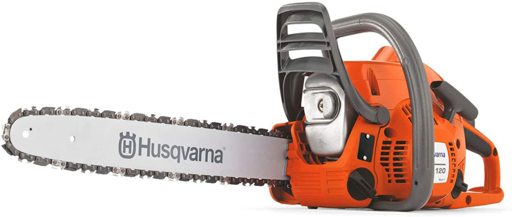 5. Husqvarna 120 Mark II 16 in Gas Chainsaws, Orange/Gray
