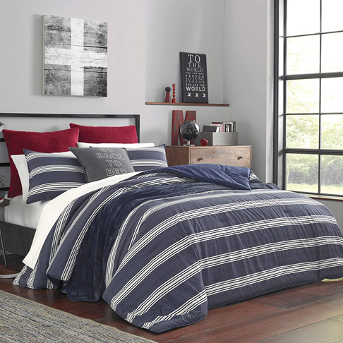 9. Nautica Home Craver Collection 3-Piece Comforter Set, Navy -Preferred