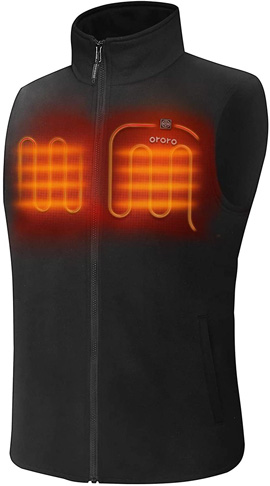 4. ORORO Men's Fleece Heated Vest with Battery Pack