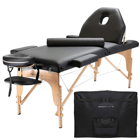 4. Saloniture Professional Portable Massage Table with Backrest – Black -Preferred