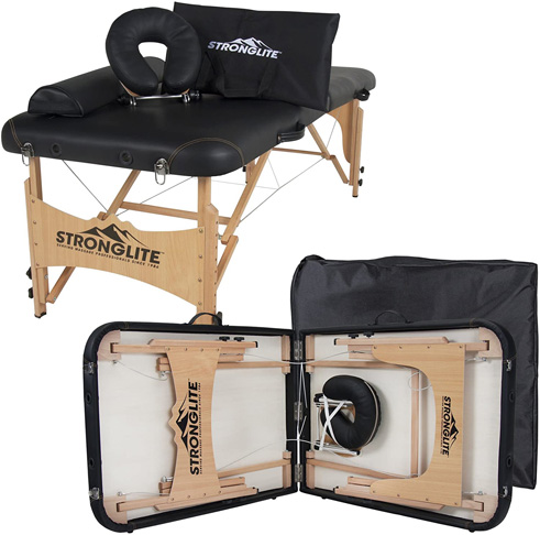 6. STRONGLITE Olympia Portable Massage Table Package, Black