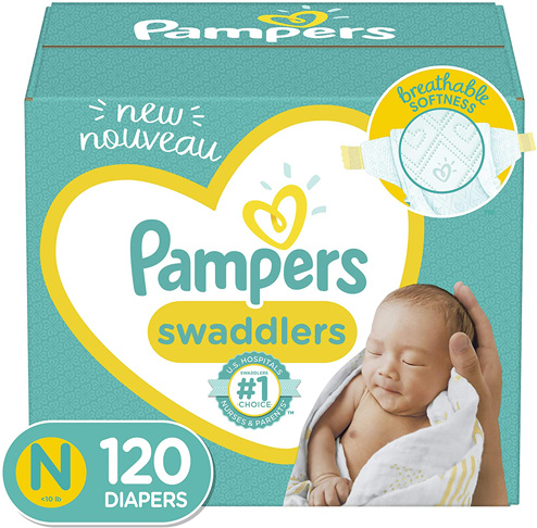 1. Pampers Swaddlers Newborn Giant Pack Diapers 120 Count -Preferred