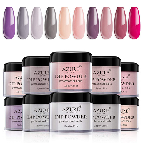 3. AZUREBEAUTY Dip Powder Nails Color Set with 10 Nude Gray Series Colors