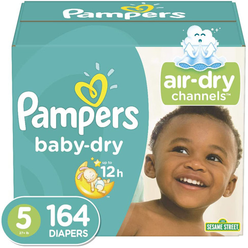 4. Pampers Baby Dry Disposable Baby Diapers, 5, 164 Count