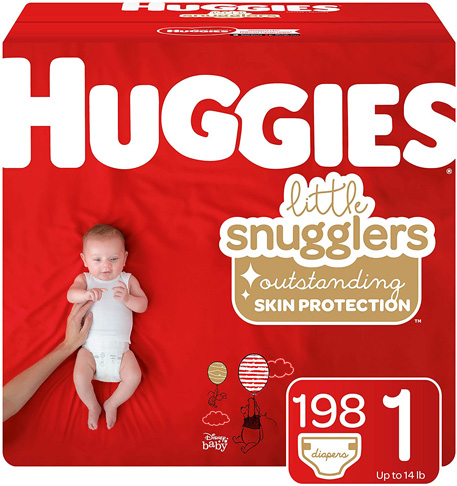 3. Huggies Little Snugglers Baby Diapers, Size 1, 198 Ct -Preferred
