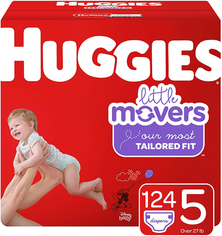 2. Huggies Little-Movers Baby Diapers, Size 5, 124 Ct -Preferred