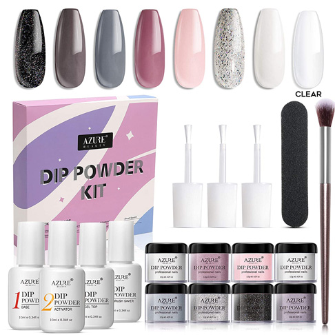 1. AZUREBEAUTY 8 Colors Nude Gray Dipping Powder Nail Starter Kit -Preferred