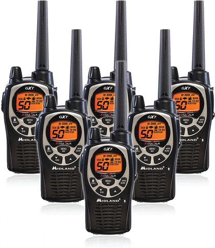 10. Midland GXT1000VP4 50 Channel GMRS Walkie Talkie (Pack of 6)