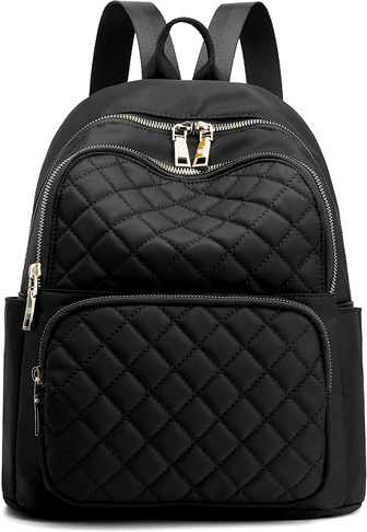 6. Gazigo Backpack Purse for Women, (Black Quilted)