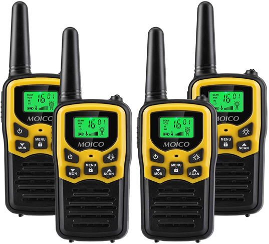 4. MOICO Walkie Talkies Long Range for Adults, 4 Pack -Preferred