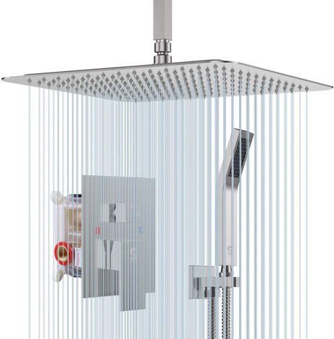 2. SR SUN RISE 12 Inch Ceiling Shower System, Brushed Nickel -Preferred