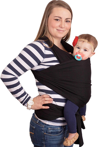 3. CuddleBug Baby Wrap Sling + Carrier – One Size Fits All (Black) - Preferred