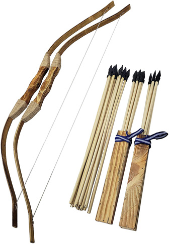 1. Adventure Awaits! 2-Pack Handmade Wooden Bow and Arrow Set - Preferred