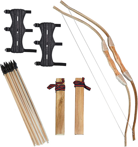 5. Clever Warrior Wooden Bow and Arrow for Kids – 2 Sets with Arm Guards - Preferred