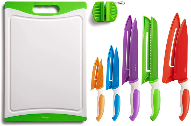 1. EatNeat Colorful Kitchen Knife Set, 12-Piece - Preferred